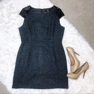ABS Platinum Green Black Faux Leather Tweed Dress